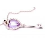 Подвеска серебряная Tiffany большой ключик фиолетовый камень камни swarovski
