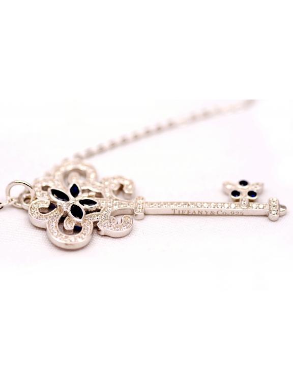Подвеска серебряная Tiffany большой белый ключ синие бабочки камни swarovski