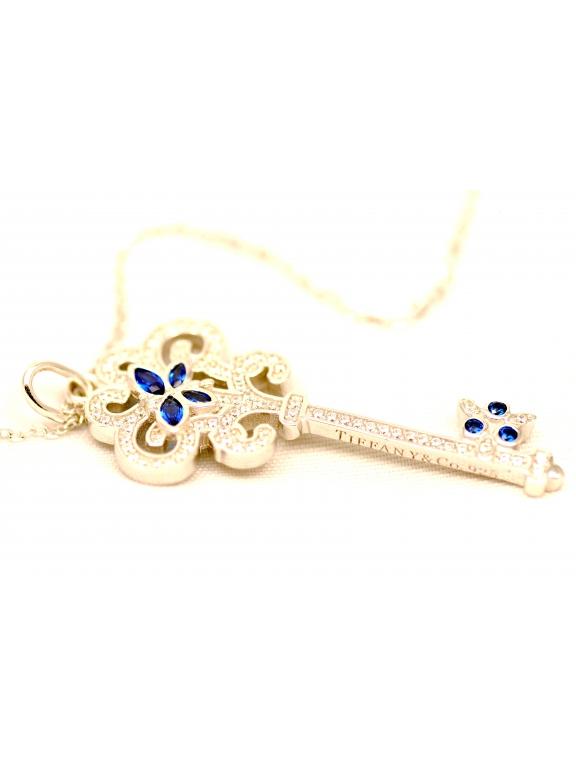 Подвеска серебряная Tiffany средний белый ключ синие бабочки камни swarowski