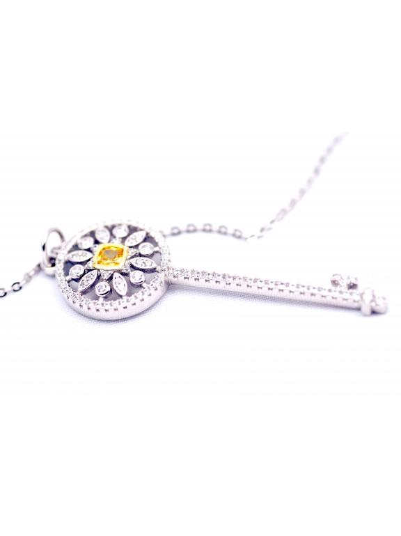 Подвеска серебряная Tiffany большой белый ключ желтый камень камни swarowski