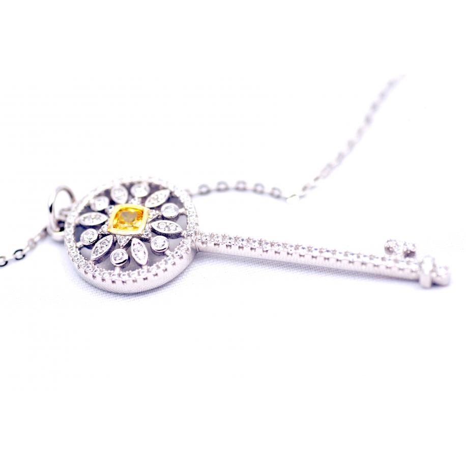 Подвеска серебряная Tiffany большой белый ключ желтый камень камни swarovski
