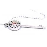 Подвеска серебряная Tiffany большой белый ключ розовый камень камни swarovski