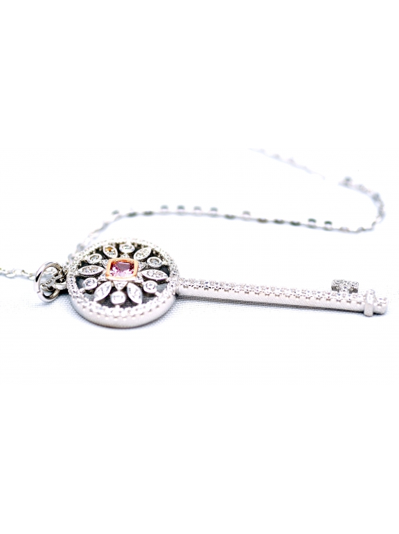Подвеска серебряная Tiffany большой белый ключ розовый камень камни swarowski