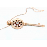 Подвеска серебряная Tiffany большой золотой ключ камни swarovski