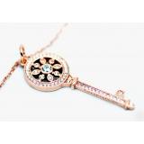 Подвеска серебряная Tiffany маленький золотой ключ камни swarovski