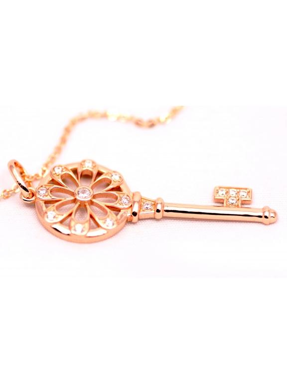 Подвеска серебряная Tiffany большой золотой ключ камни swarowski