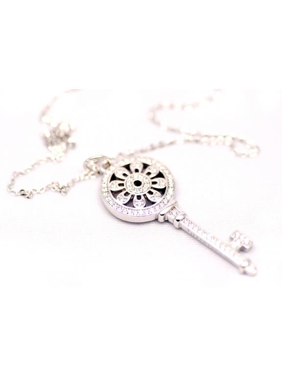 Подвеска серебряная Tiffany маленький белый ключ камни swarowski