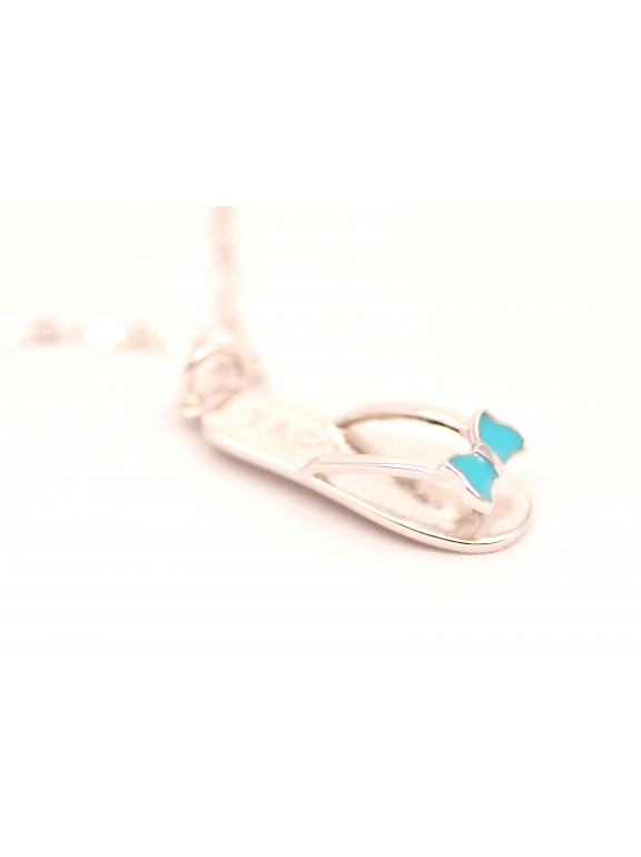 Подвеска серебряная Tiffany вьетнамки бирюзовая эмаль