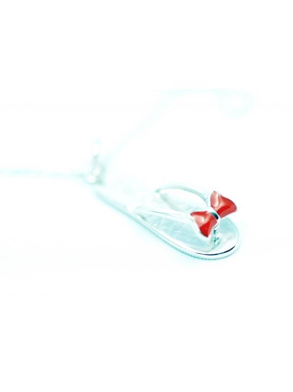 Подвеска серебряная Tiffany вьетнамки красная эмаль