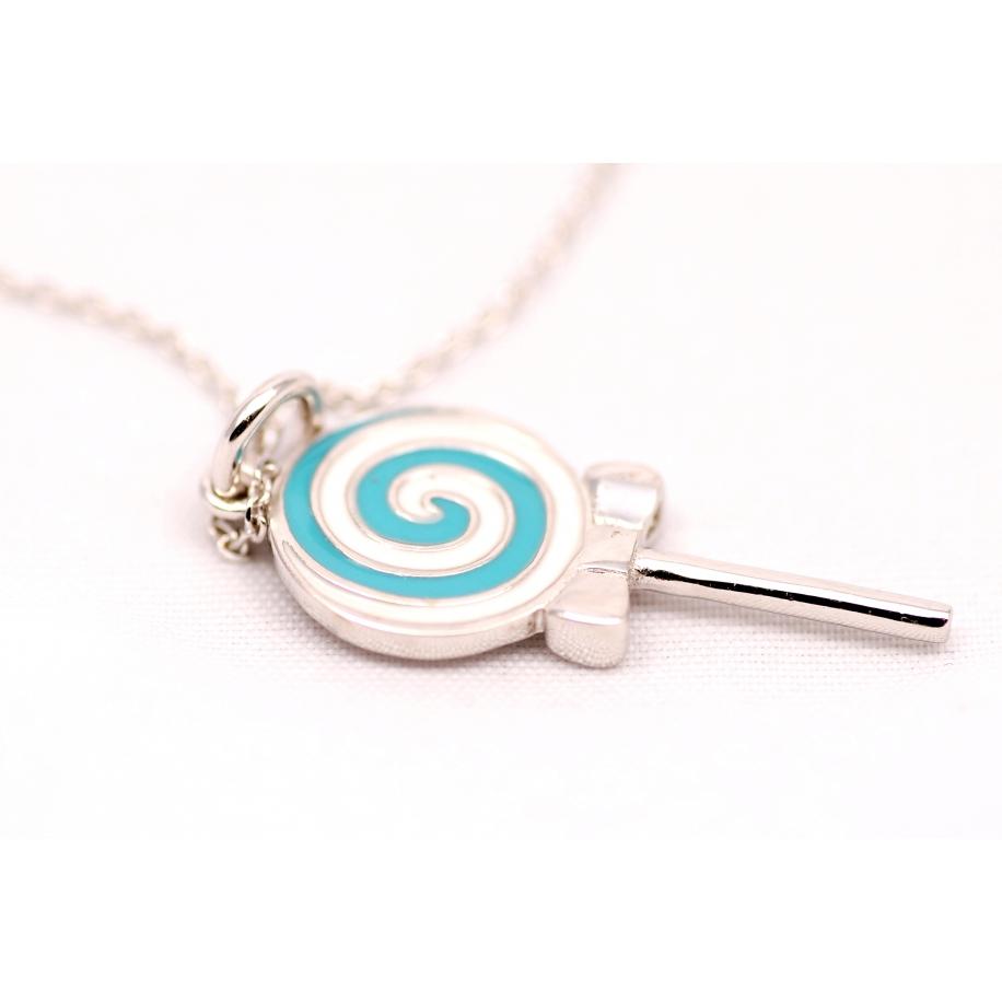 Подвеска серебряная Tiffany конфета эмаль