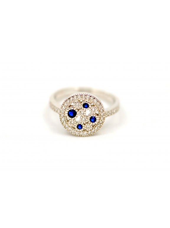 Кольцо серебряное Tiffany бело - синие камни swarowski размеры 17 , 18