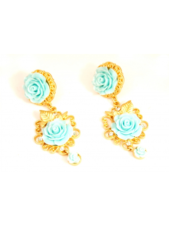 Серьги Dolce & Gabbana голубые розочки