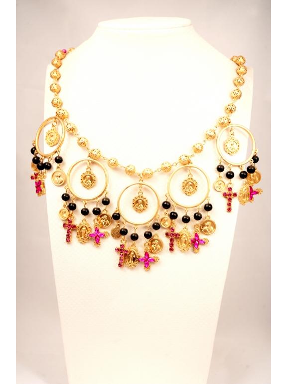 Подвеска Dolce & Gabbana монетки малиновые крестики
