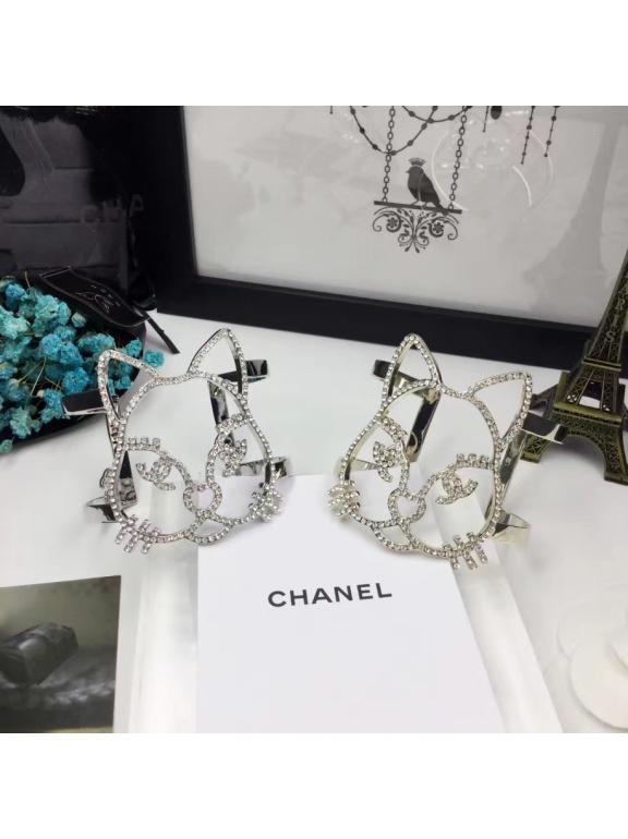 Белый Браслет Chanel кошка камни