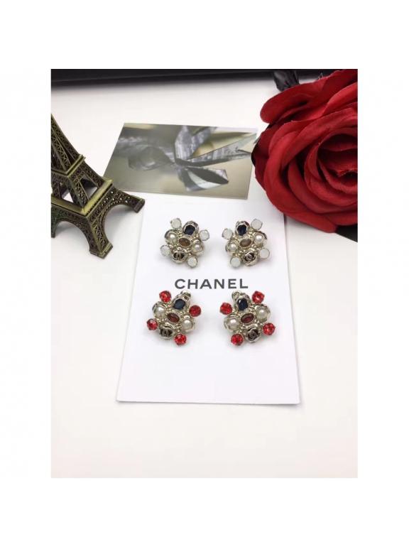 Золотые Серьги Chanel красно - синие камни