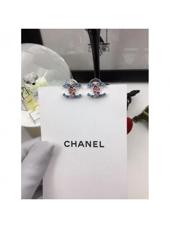 Голубые Серьги Chanel голубые разноцветные камни
