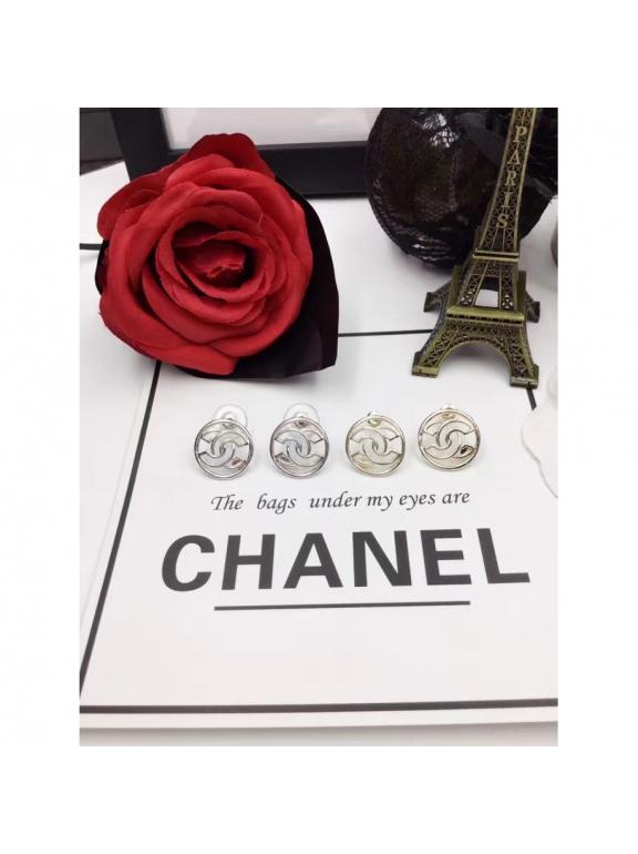 Белые Серьги Chanel белый значок шанель круг