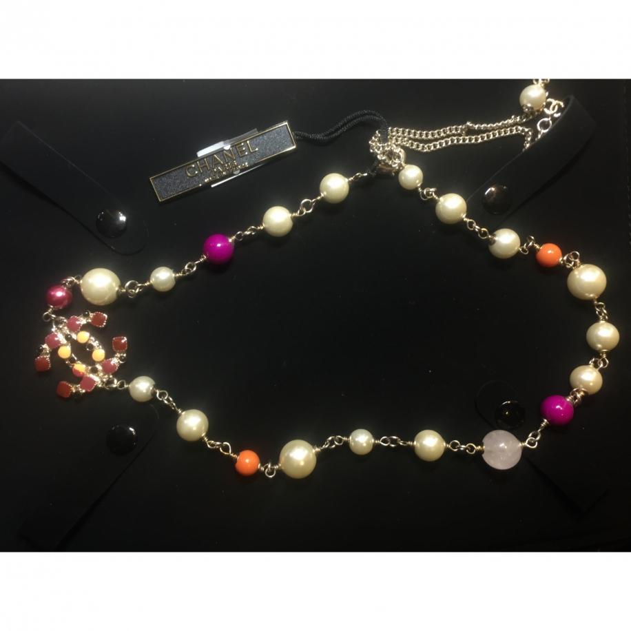 Золотое Колье Chanel бордово - оранжевый значок жемчуг