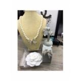 Золотое Колье Chanel короткие жемчужинки золотой бантик камни