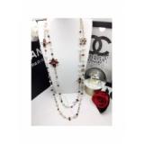 Золотое Колье Chanel длинное красные камни