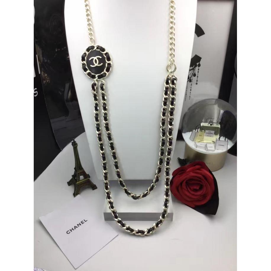 Черная Колье Chanel цепь значок черная кожа