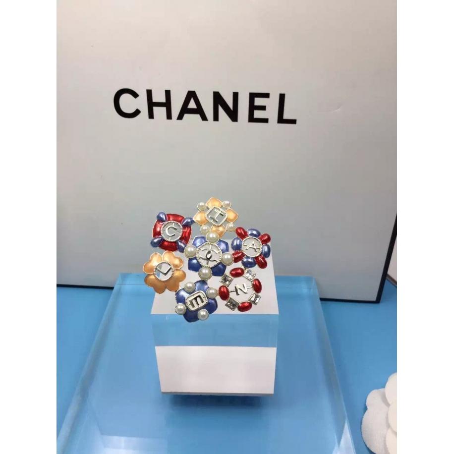 Золотая Брошка Chanel цветы оранжево - сине - красные