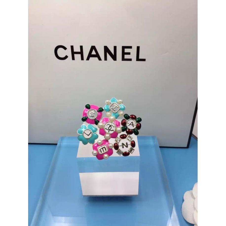 Золотая Брошка Chanel цветы бирюзово - розовые