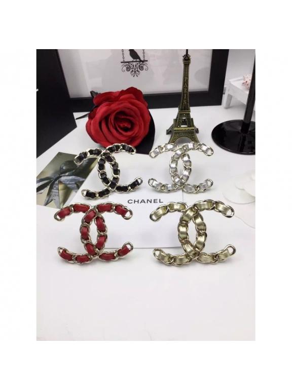 Золотая Брошка Chanel значок золотая кожа