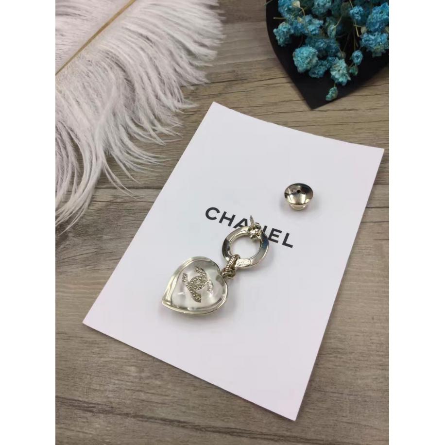 Золотая Брошка Chanel значок сердечко прозрачный золотой