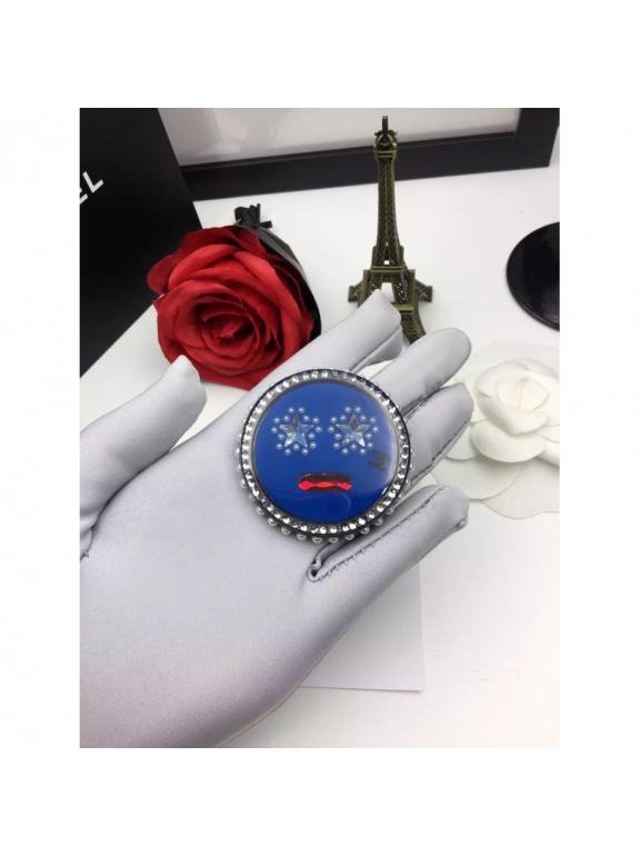 Синяя Брошка Chanel круг синяя пудра камни