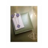 Лиловая Подвеска в стиле VCA один цветочек в золоте