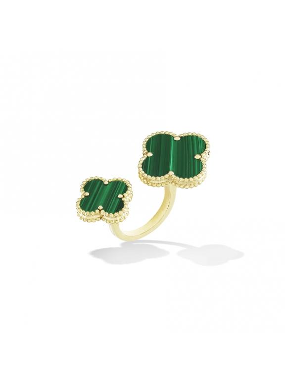 Золотое Двойное Кольцо зеленые цветочки в золоте