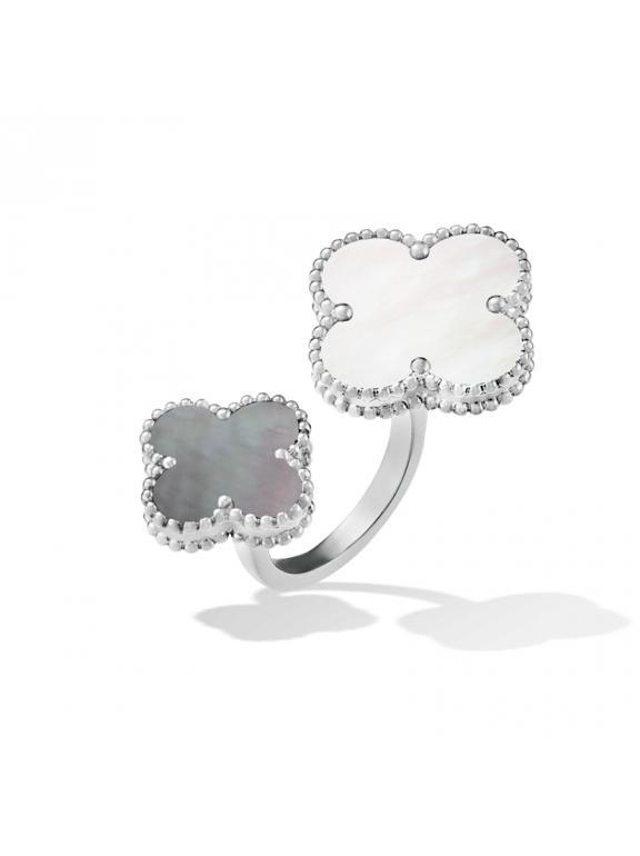 Белое Двойное Кольцо черно - перламутровые цветочки в белом