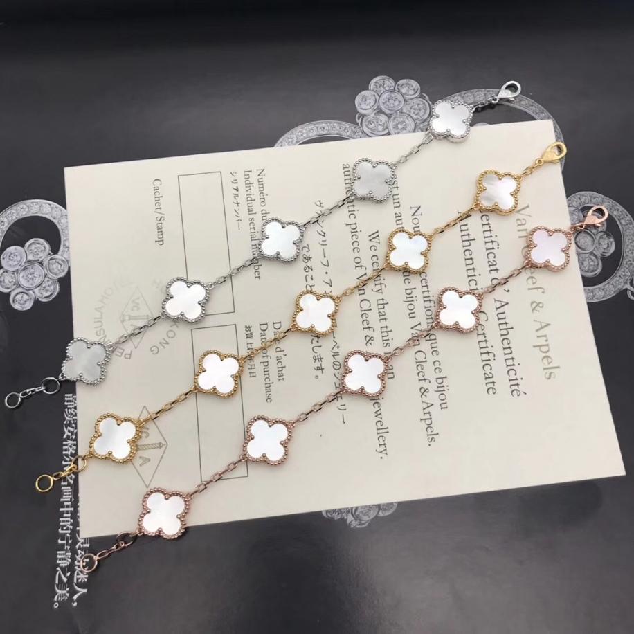 Белый Браслет Van Cleef & Arpels пять цветочков в белом