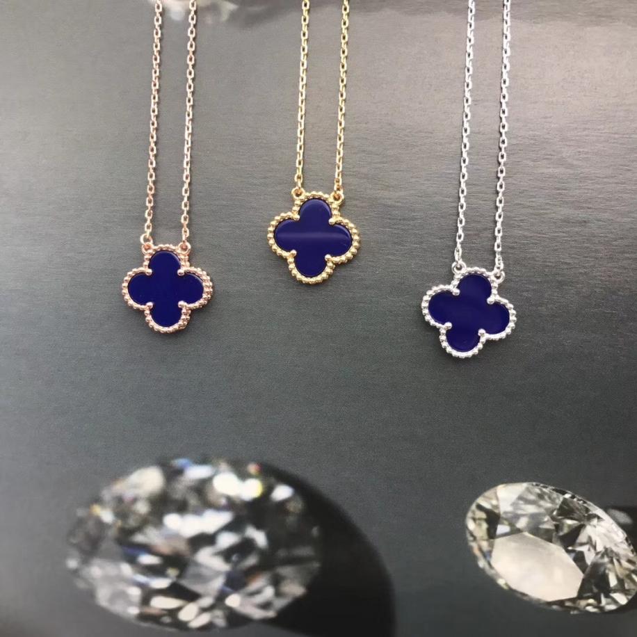 Синяя Подвеска в стиле VCA один цветочек в золоте