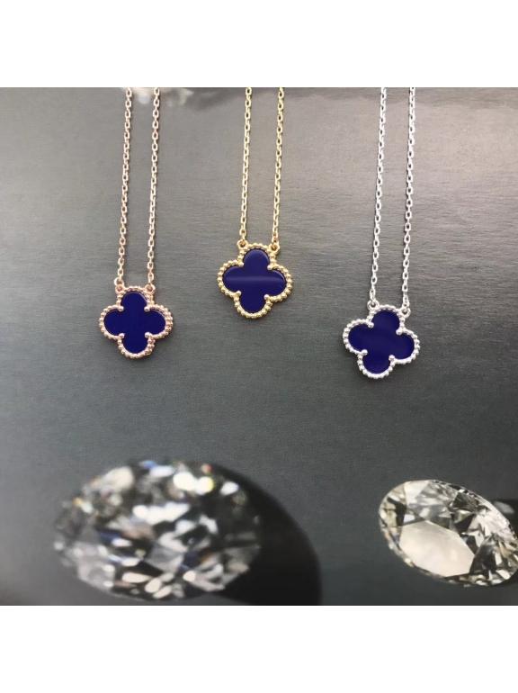 Синяя Подвеска Van Cleef & Arpels один цветочек в белом