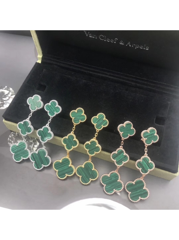 Зеленые Тройные Серьги Van Cleef & Arpels в золоте
