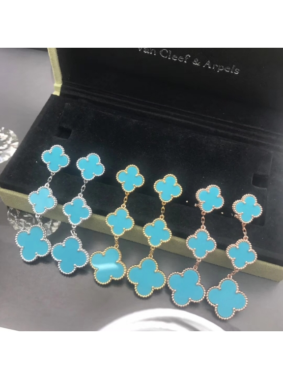 Голубые Тройные Серьги Van Cleef & Arpels