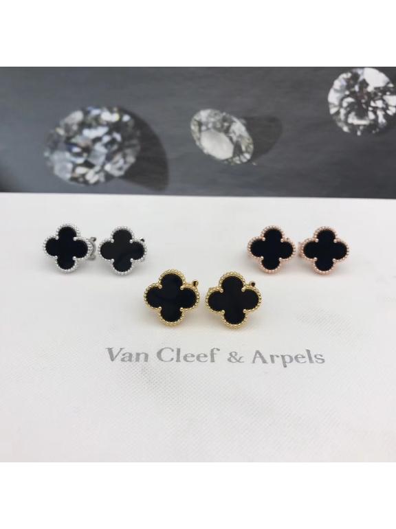 Средние Черные Серьги Van Cleef & Arpels в золоте