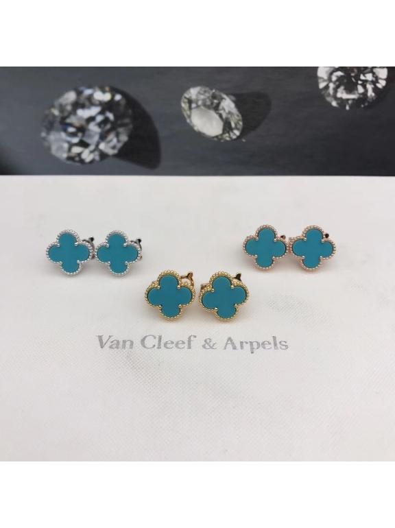Средние Голубые Серьги Van Cleef & Arpels в белом