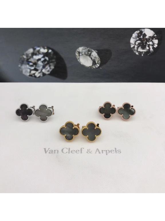 Средние Серый Перламутр Серьги Van Cleef & Arpels в белом