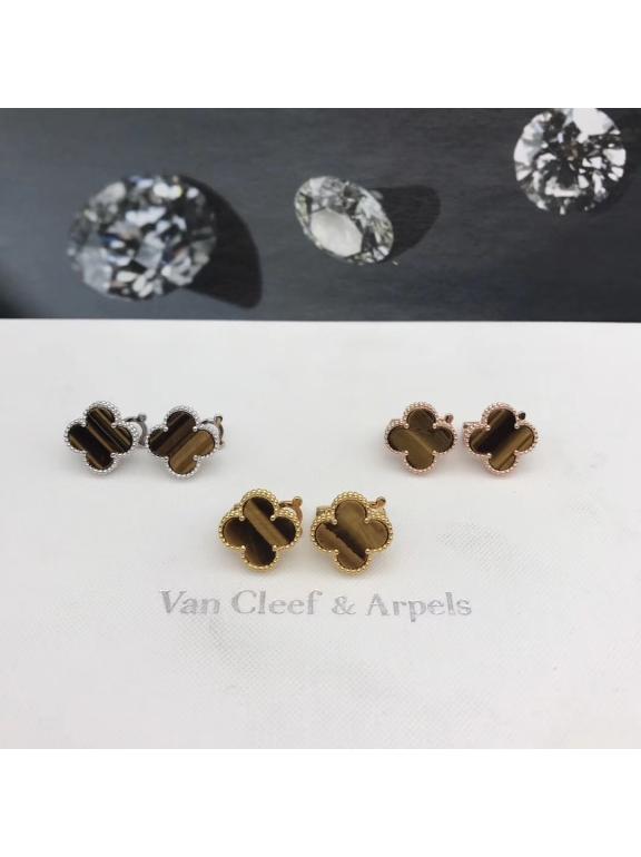 Средние Коричневые Серьги Van Cleef & Arpels в белом