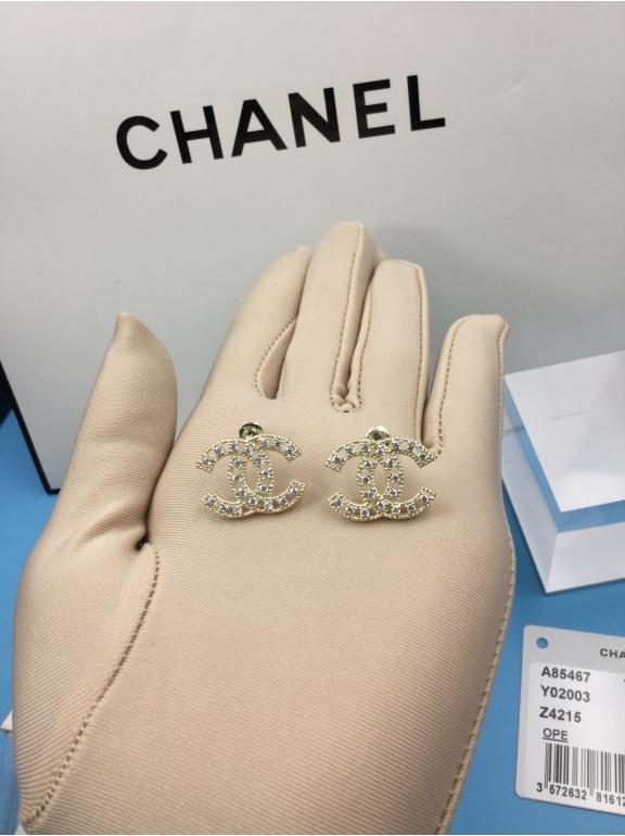 Золотые Серьги Chanel золотой значок камни