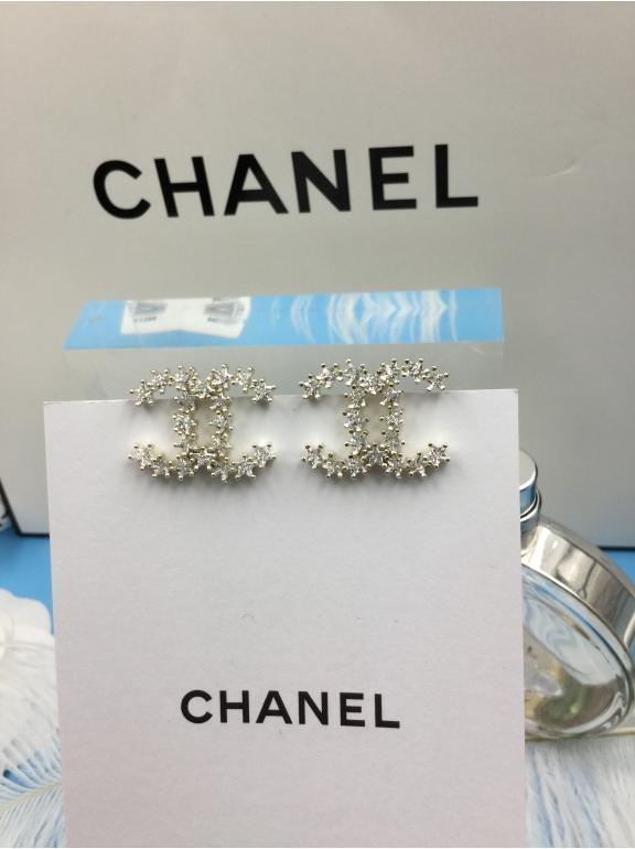 Золотые Серьги Chanel золотые звезды камни