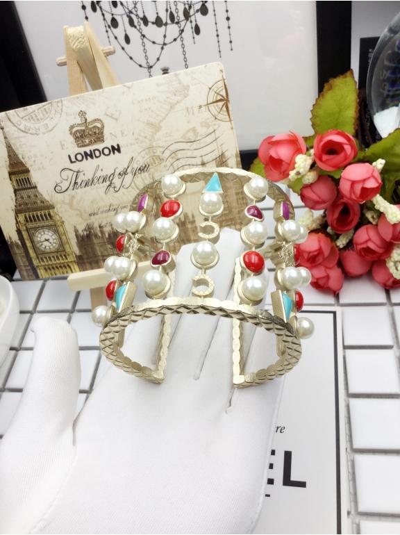 Золотой Браслет Chanel жемчужинки сердца эмаль
