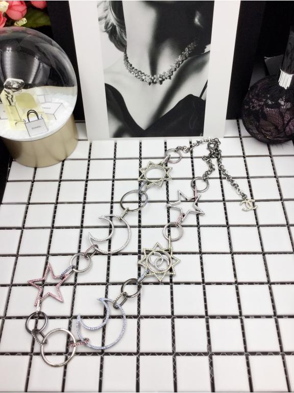 Колье Chanel Белое Звезды - Месяц Разноцветные Камни