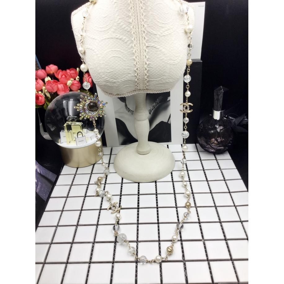 Колье Chanel Белые Прозрачные Жемчужинки Месяц Камни
