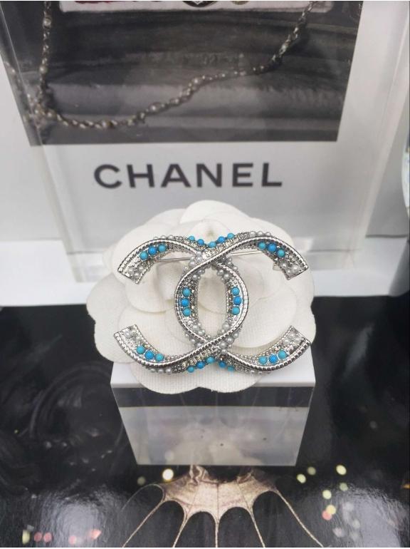 Белая Брошка Chanel белый значок жемчужинки бирюза