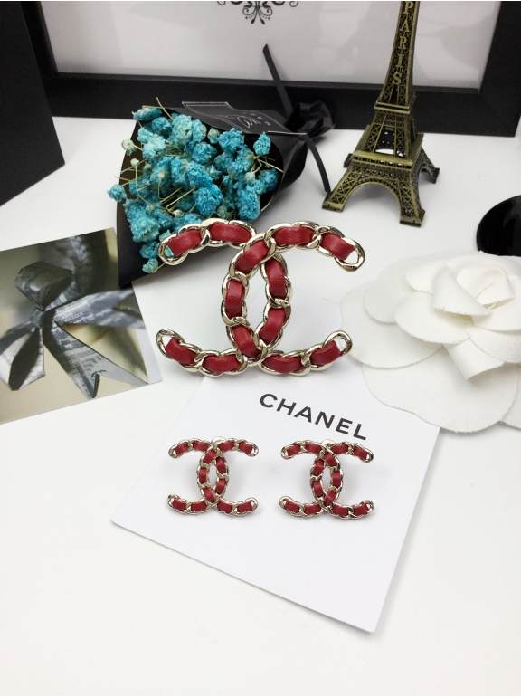 Красная Брошка Chanel значок красная кожа