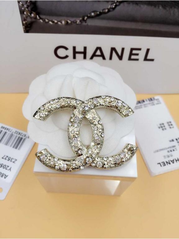 Золотая брошка Chanel значок камни